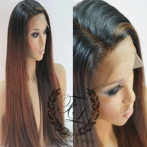 Brazilian Human Hair Ombre Auburn Straight Wig